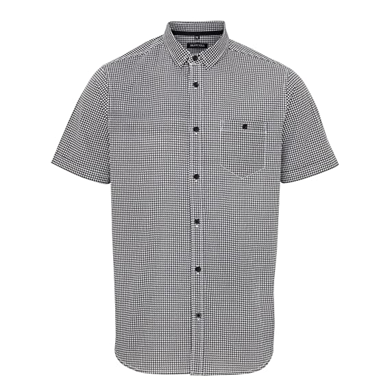 Brave Soul Mens Tooth Short Sleeve Dogtooth Pattern Shirt