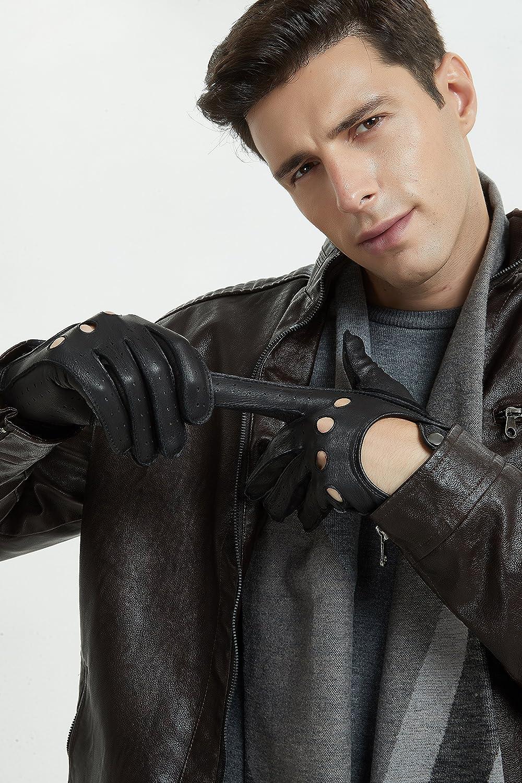 dise/ño cl/ásico italiano adecuados para la conducci/ón y la vida diaria. dise/ño suave y elegante de alta calidad ZLUXURQ Guantes de cuero para hombres