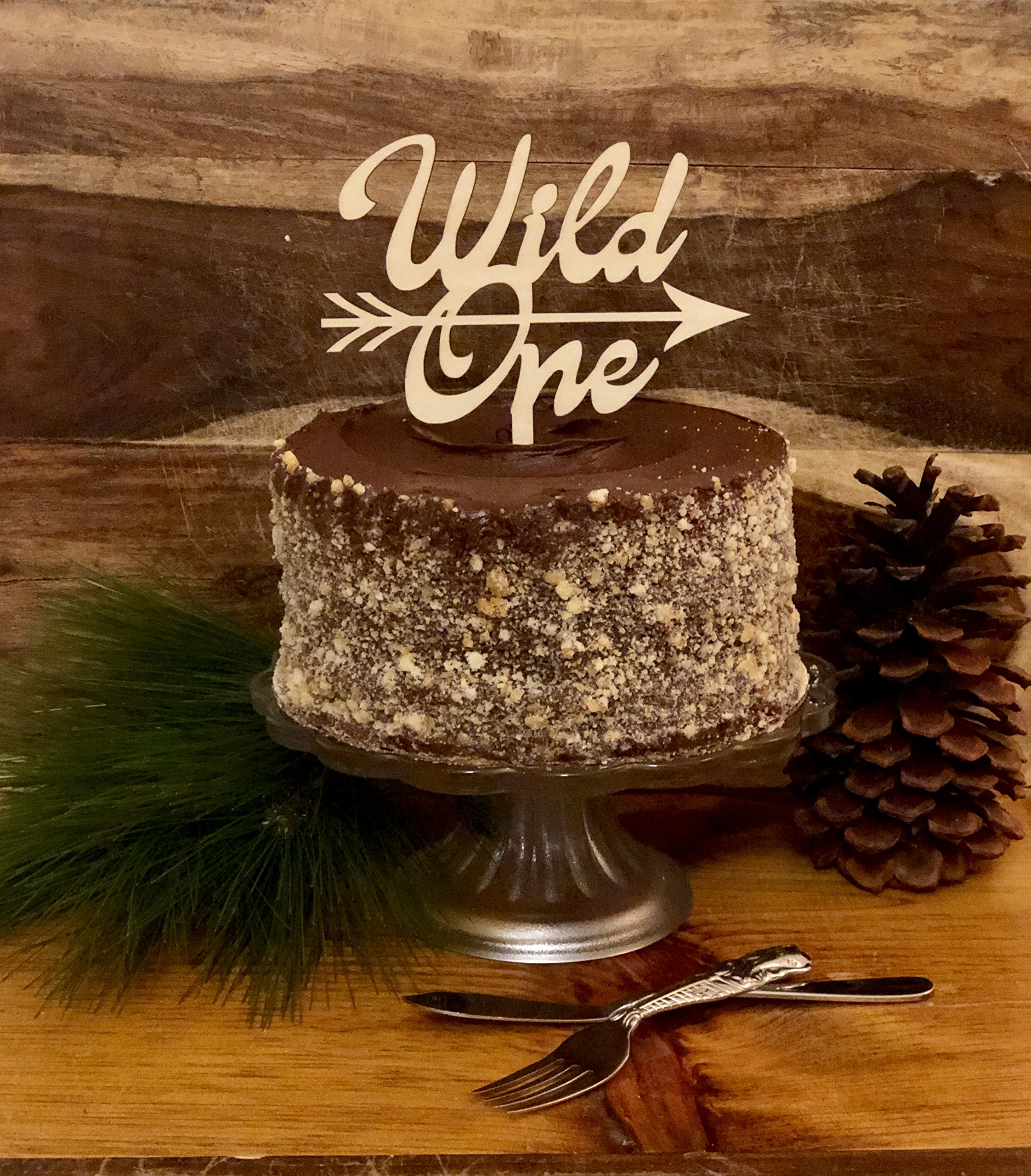 Birthday Cake Topper | Natural Wood |''Wild One''