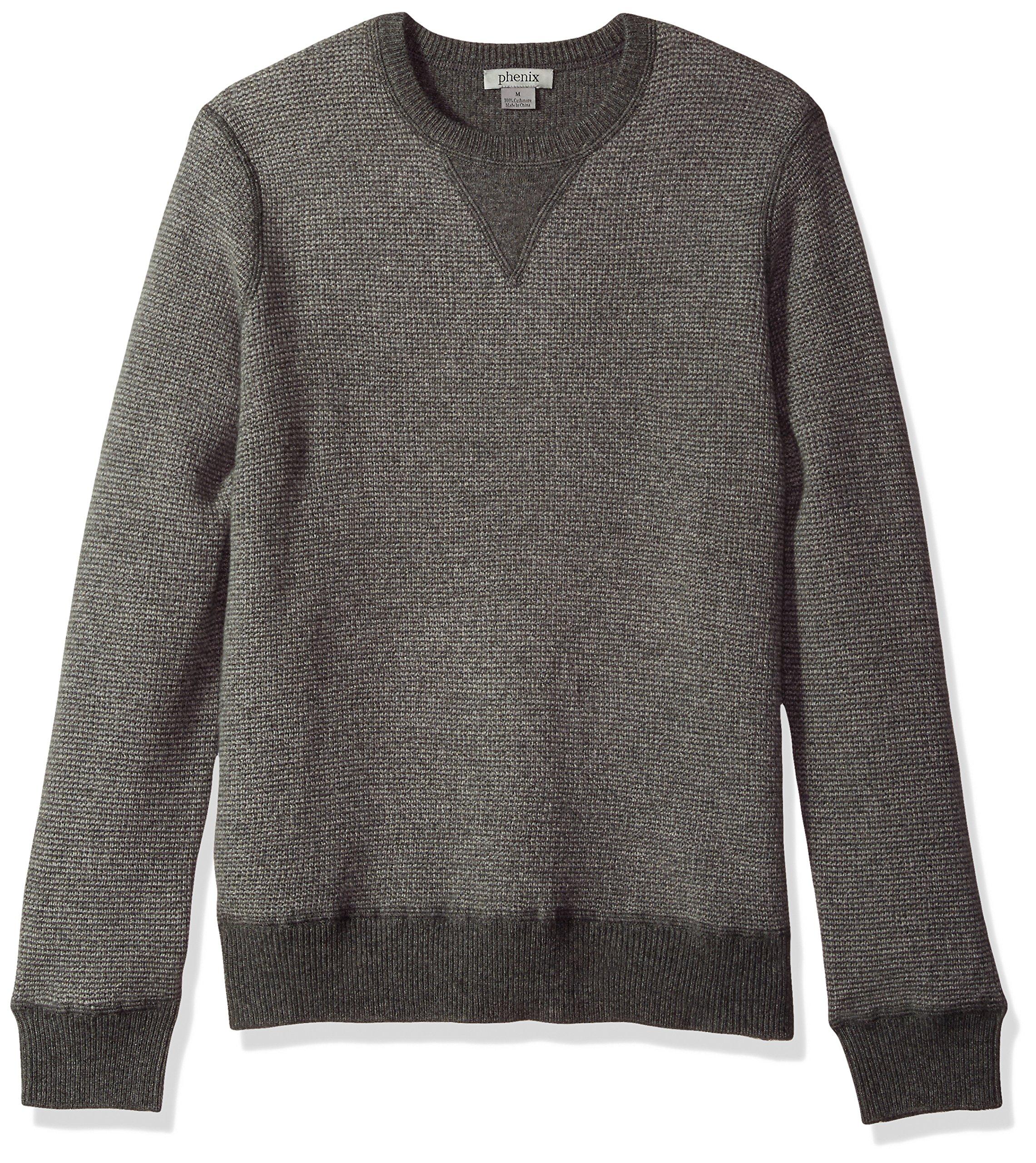 Phenix Cashmere Men's 100% Cashmere 2 Tone Waffle Crew Neck Sweater, Dark Grey/Light Grey, Medium