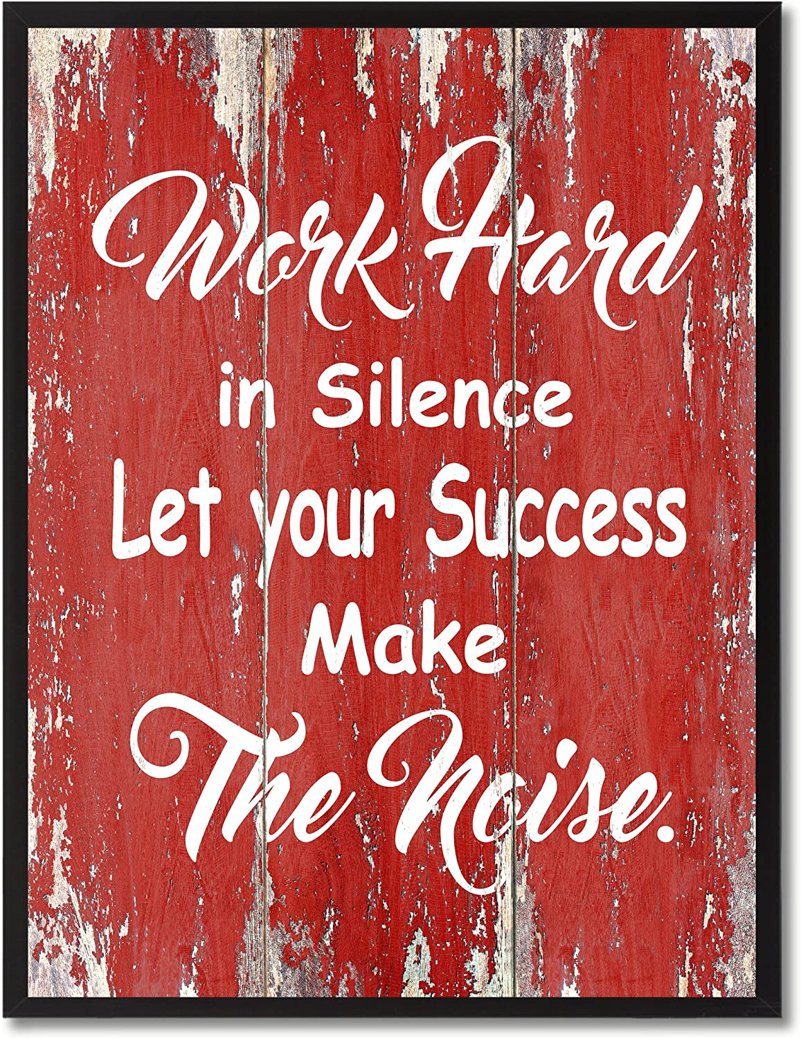 """SpotColorArt Work Hard in Silence Framed Canvas Art, 7"""" x 9"""", Red (Wood)"""