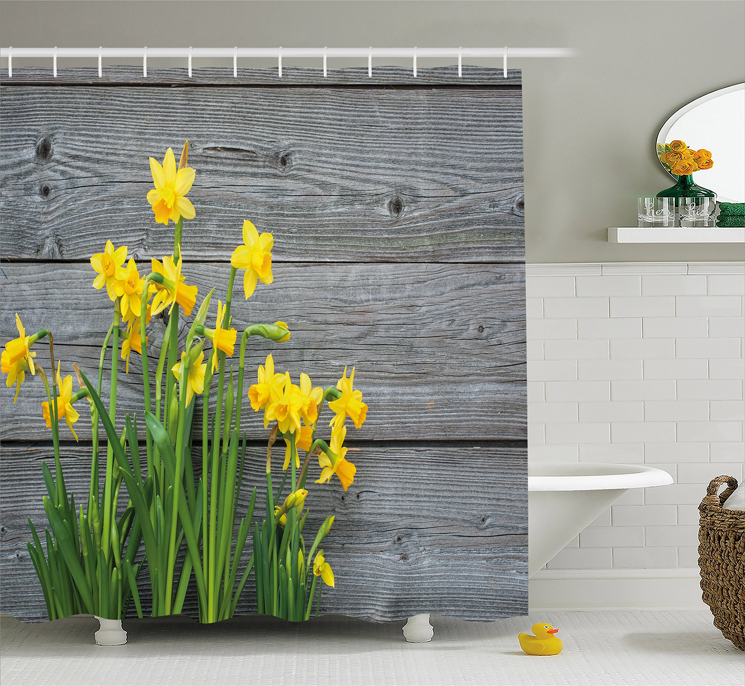 Ambesonne Yellow Flower Shower Curtain, Bouquet Daffodils on Wood Planks Gardening Rustic Country Life Theme, Fabric Bathroom Decor Set Hooks, 70 inches, Yellow Grey