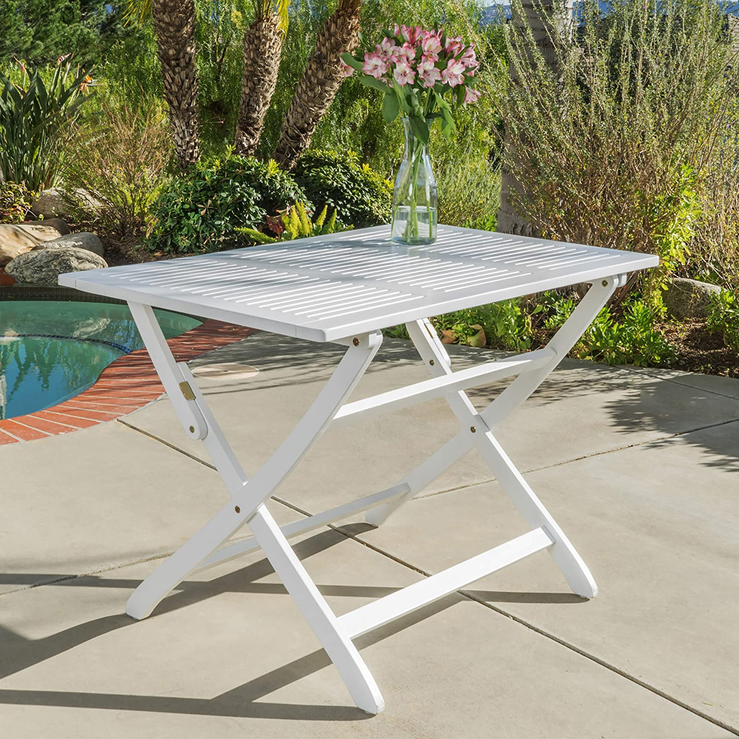 St. Nevis Acacia Wood Outdoor Foldable Dining Table Perfect for Patio with White Finish