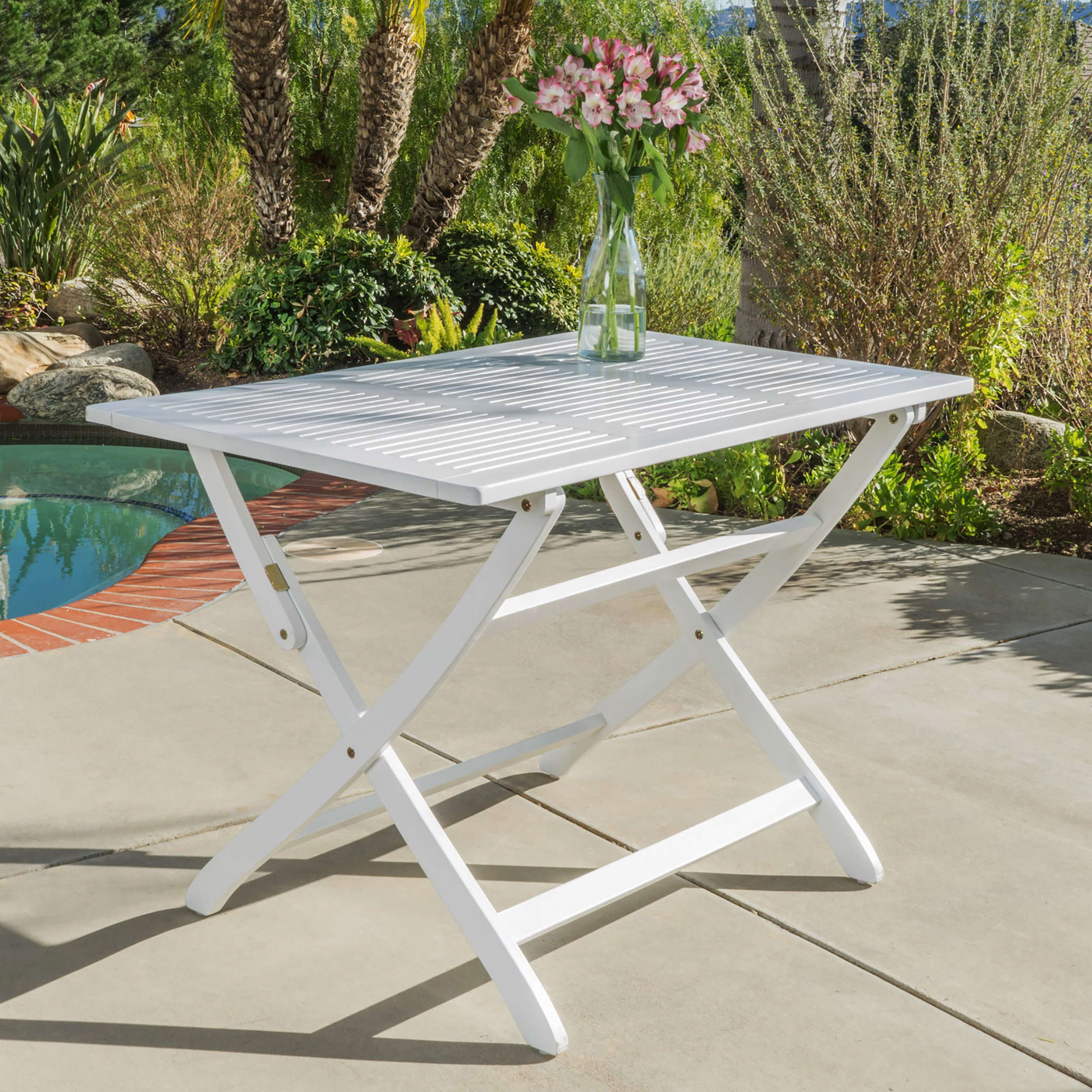 Christopher Knight Home St. Nevis   Acacia Wood Outdoor Foldable Dining Table   Perfect for Patio   with White Finish