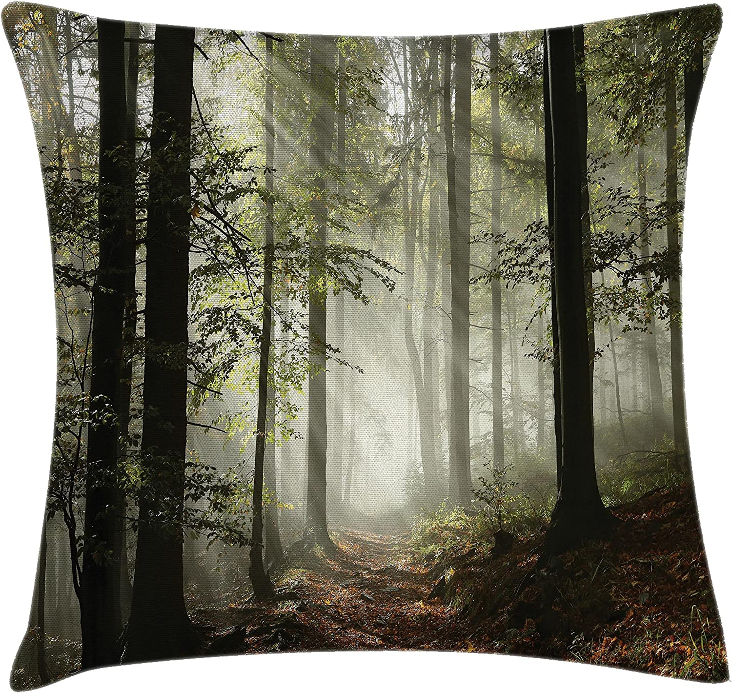Amazon Com Lunarable Forest Throw Pillow Cushion Cover Dark Forest Route Surrounded By Fog In The Sunshine Day Time In Mother Earth Image Decorative Square Accent Pillow Case 36 X 36 Green Brown
