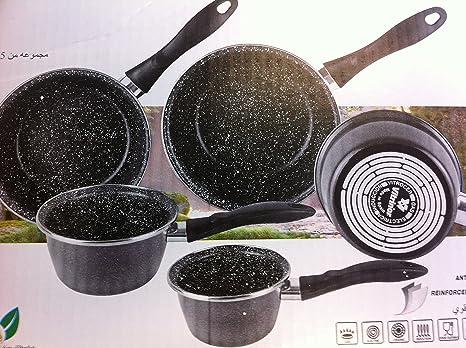 Vitrinor A03-JG05 C2 – Lote de 5 sartenes esmaltadas (Negro inducción Interieur Piedra