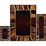 "Home Dynamix Ariana Konya 3 Piece Area Rug Set | Warm & Plush Black, Gold, Brown | Living Room, Dining Room, Bedroom | Modern Bold Picture Frame Border | 4'11""x6'11"", 1'8""x4'11"", 1'8""x2'8"""