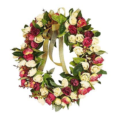 Amazon louho rose wreath artificial flower blossom garland louho rose wreath artificial flower blossom garland floral wreaths flowers arrangements spring decor home mightylinksfo