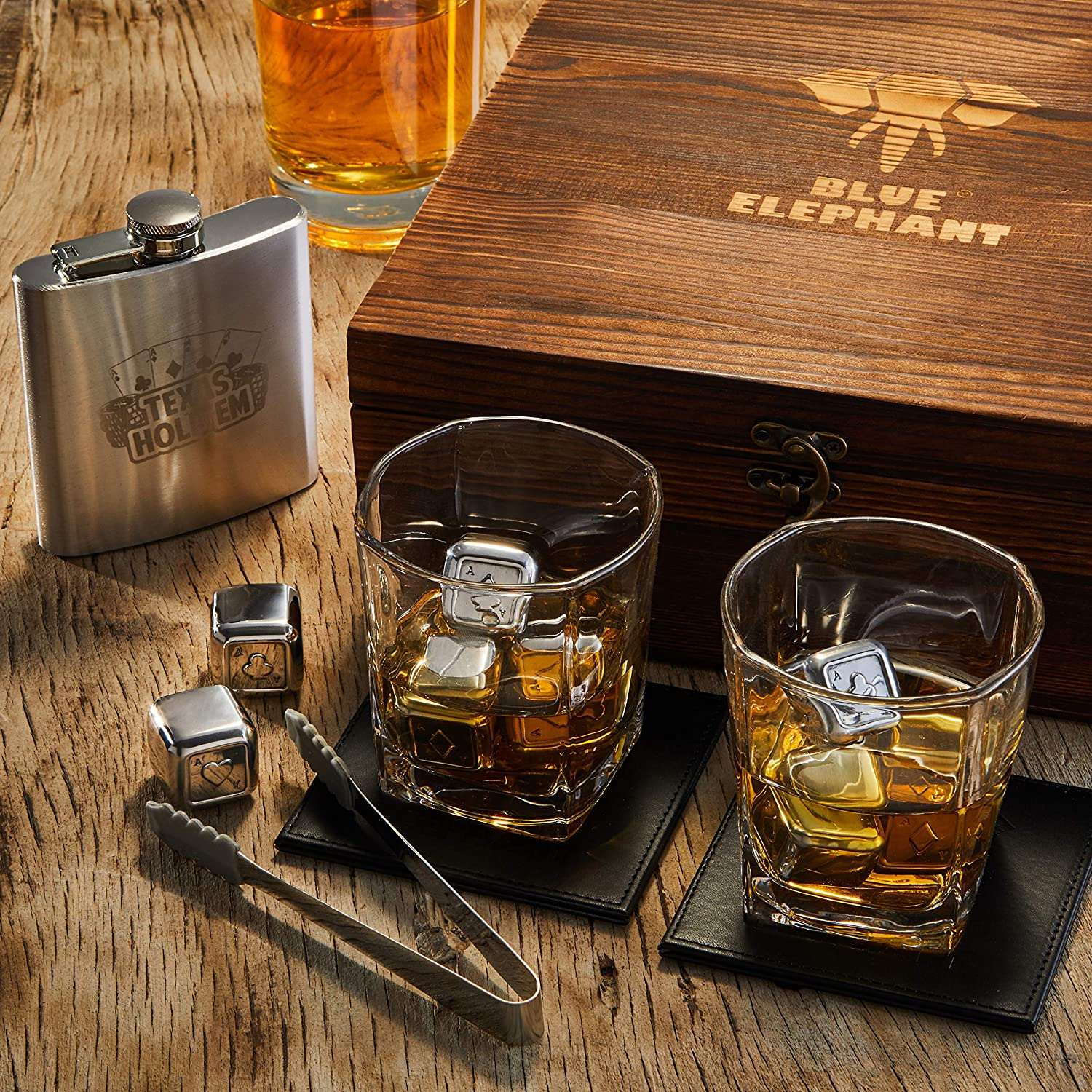 Poker Whiskey Stones Gift Set Boyfriend and Husband Birthday 2 Glasses Tongs Christmas 8 Chilling Stones and 2 Coasters with Gift Box 1 Flask and Anniversary Texas Hold/'em Gifts for Men/…