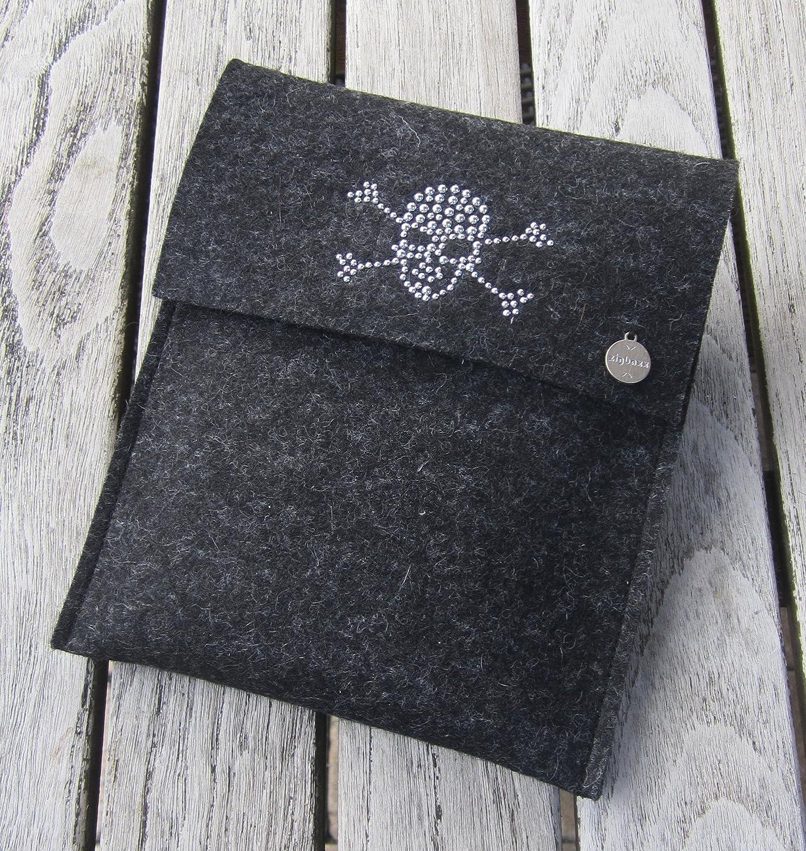 zigbaxx eReader HüllE DARK ZONE Case Sleeve Filz u.a. für Tolino Epos, Tolino Vision 4HD 3HD, Tolino Shine 2 HD & Page - Schutzhülle aus 100% Wollfilz pink schwarz beige grau braun, Geschenk Weihnachten Geburtstag