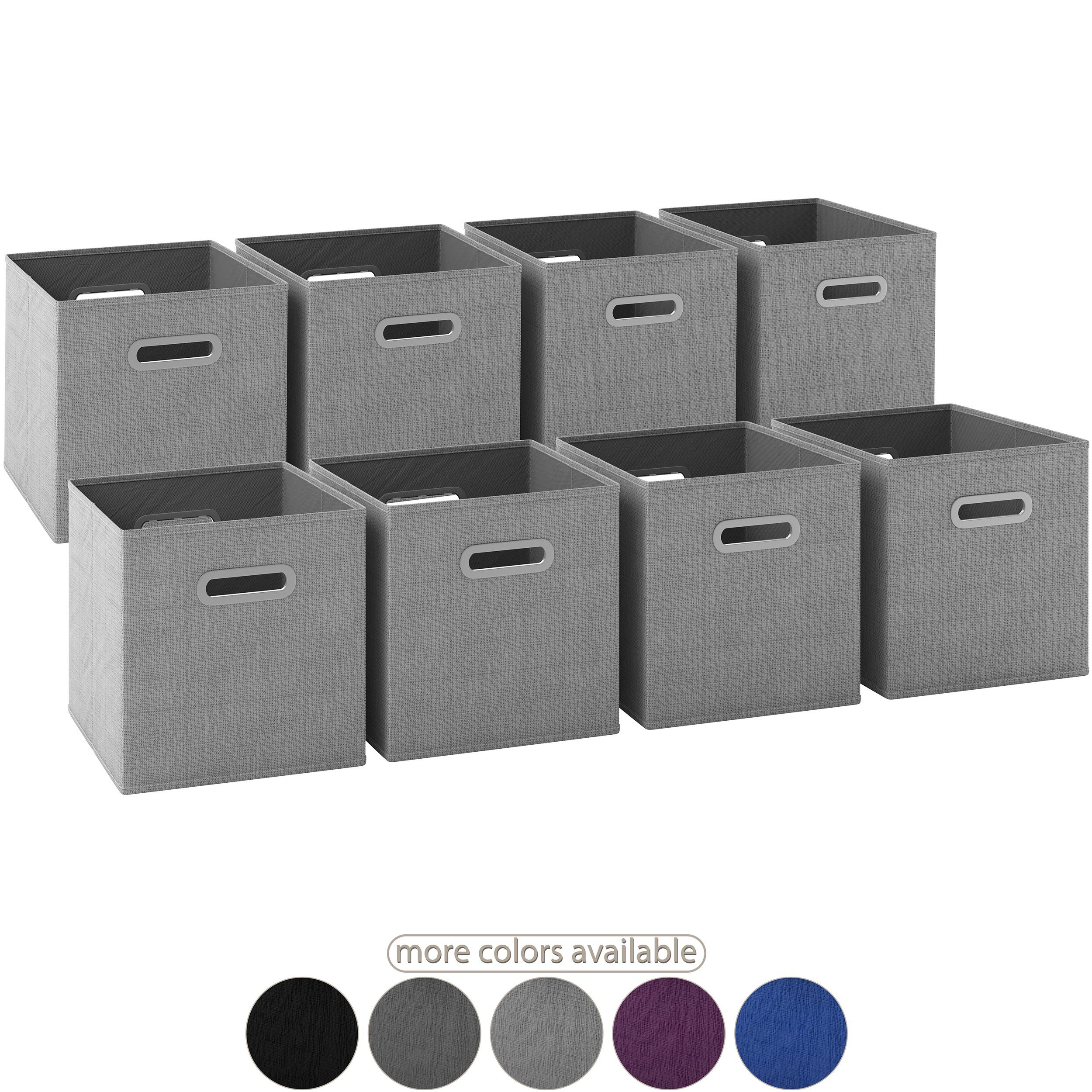 Royexe Launch Sale - Storage Cubes - (Set of 8) Storage Baskets | Features Dual Handles | Cube Storage Bins | Foldable Fabric Closet Shelf Organizer | Drawer Organizers and Storage (Light Grey)