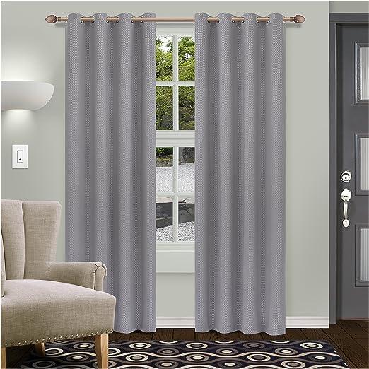 Superior Metallic Shimmer Deep Gulf Blackout Insulated Grommet Curtains 2 Panels