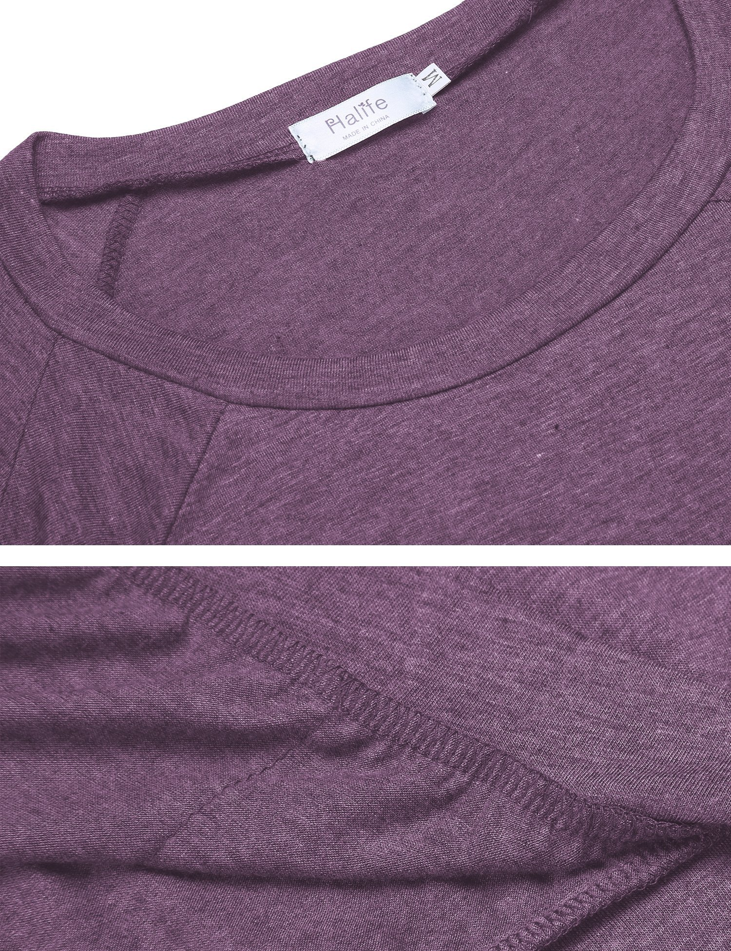 Halife Loose Tunic Shirt Short Sleeve, Womens Casual Pockets T Shirt Tops Purple XL by Halife (Image #7)