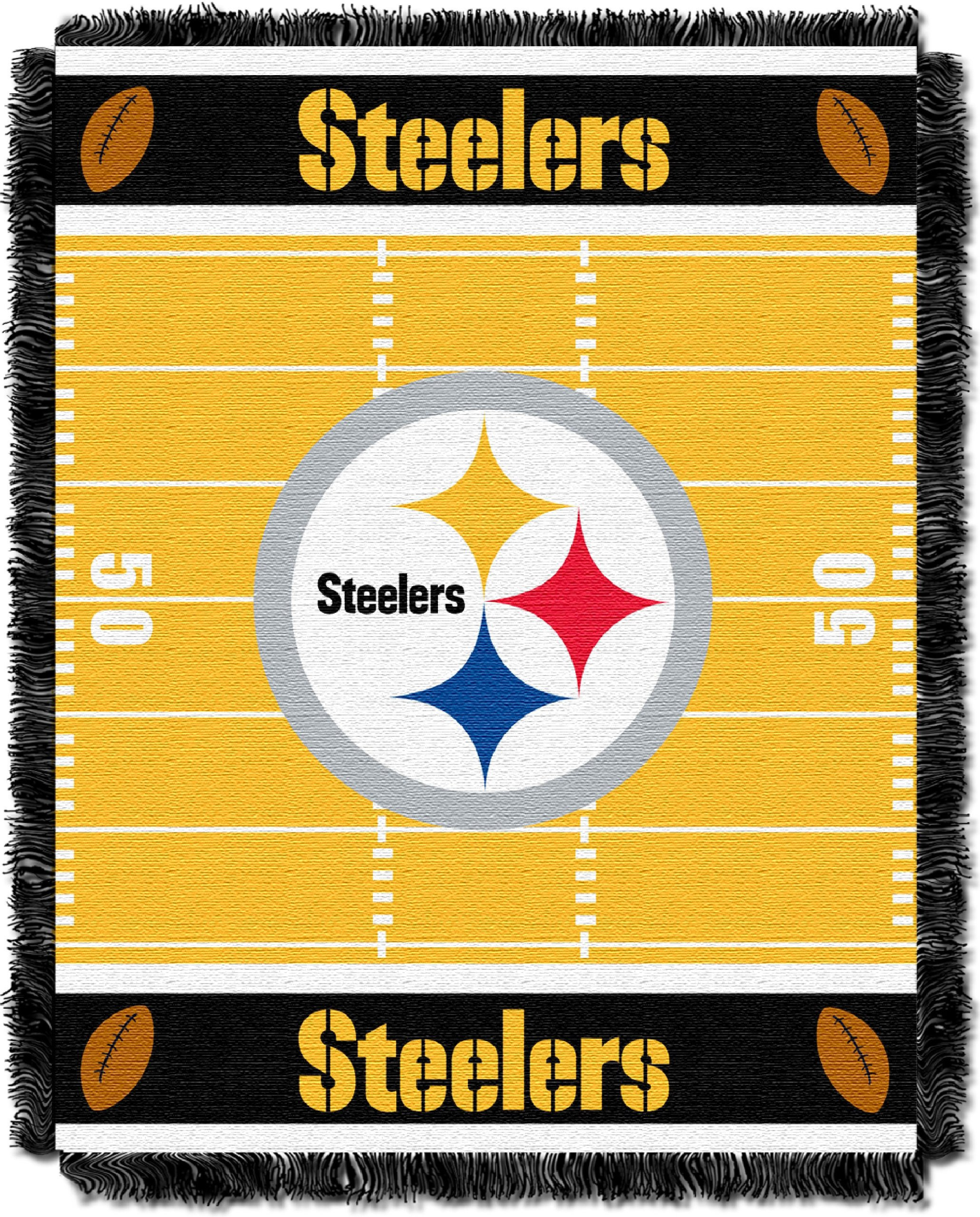 The Northwest Company Officially Licensed NFL Pittsburgh Steelers Field Bear Woven Jacquard Baby Throw Blanket, 36'' x 46'', Multi Color by The Northwest Company