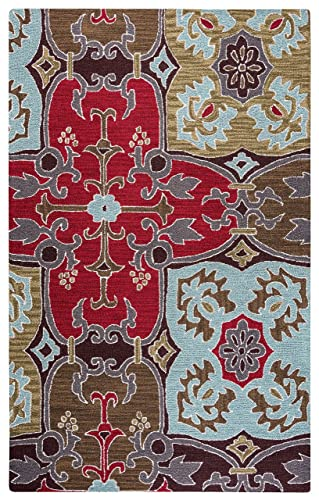 Rizzy Home Country Collection Wool Area Rug, 8 x 10 , Multi Gray Rust Blue Ornamental