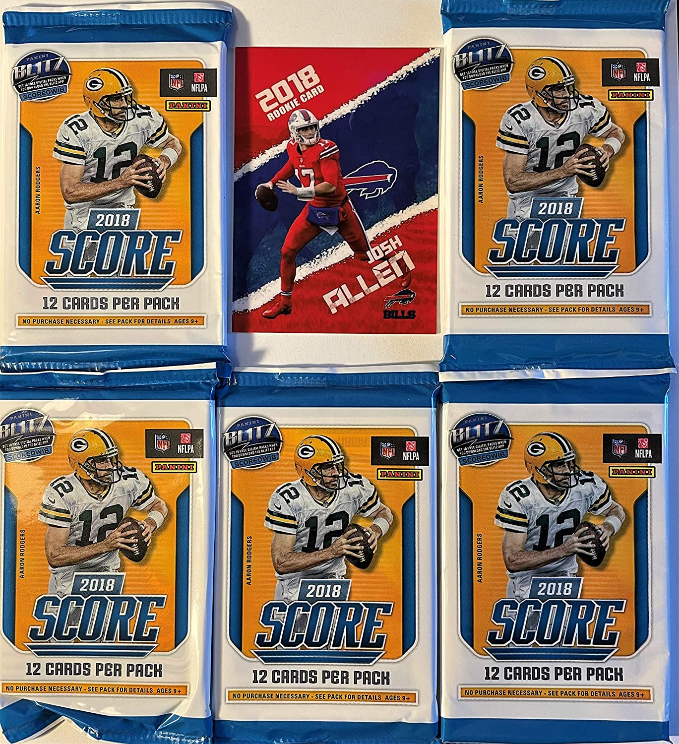 SAQUON BARKLEY Rookie Cards 61 Total Cards LAMAR JACKSON 5 Factory Sealed 2018 Panini SCORE Football Cards with 12 Cards Per Pack Plus One Custom Novelty Josh Allen Football Card BAKER MAYFIELD Chase JOSH ALLEN