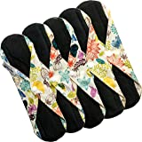 Caring Panda - Bamboo Reusable Sanitary Pads - Large Cloth Menstrual Pads - for HEAVY FLOW or OVERNIGHT - 5Pack Flower Pattern - Charcoal Layer to Avoid Leaks, Odors and Stains (Large, 28cm / 11inches, Flower Field)