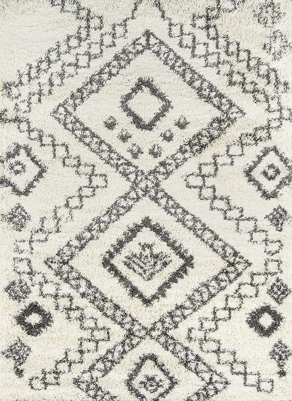 "Momeni Rugs Maya Collection, Ultra Thick Pile Shag Area Rug, 9'3"" x 12'6"", Ivory"