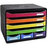 Exacompta Storebox Mini Harlekin mit 7 Schubladen / Stapelbare Schubladenbox im Querformat für mehr Platz auf dem Schreibtisch in Bunt