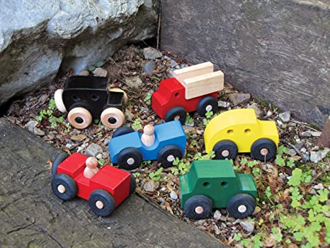 Amazon Com Mites Set Of 6 Wooden Cars Made In Usa Toys Games