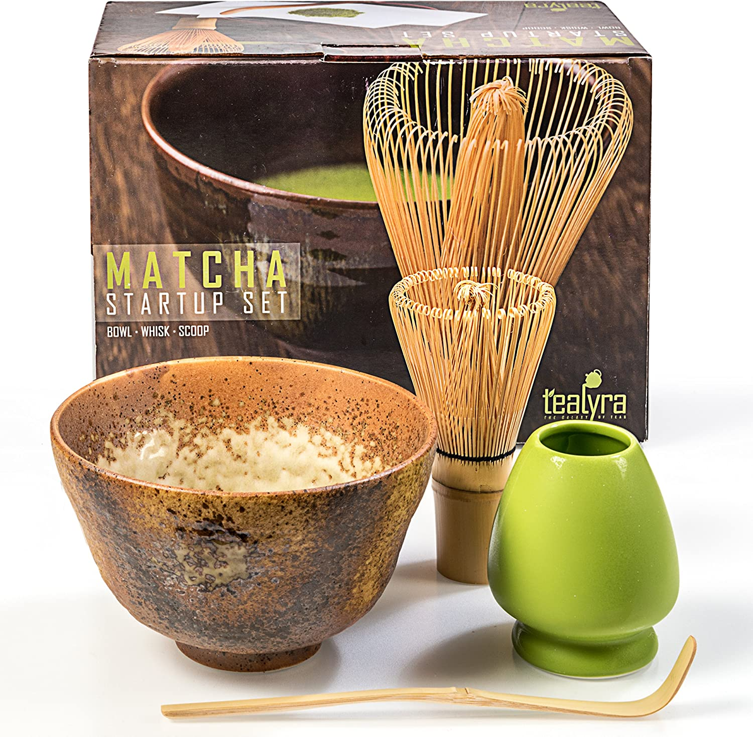 Gift Box Matcha Green Tea Gift Set Whisk Holder 4 Items Bamboo Whisk and Scoop Japanese Made Beige Bowl Start Up Kit Matcha Tealyra