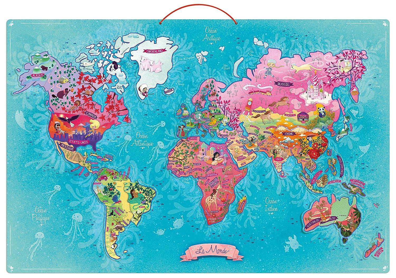 Vilac - 2723 - Carte du Monde Poétique Magnétique Jeux d'exploration