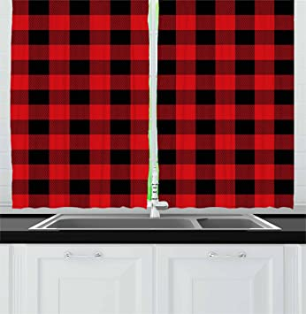 Red Plaid Kitchen Curtains By Ambesonne Lumberjack Clothing Inspired Square Pattern Checkered Grid Style Quilt