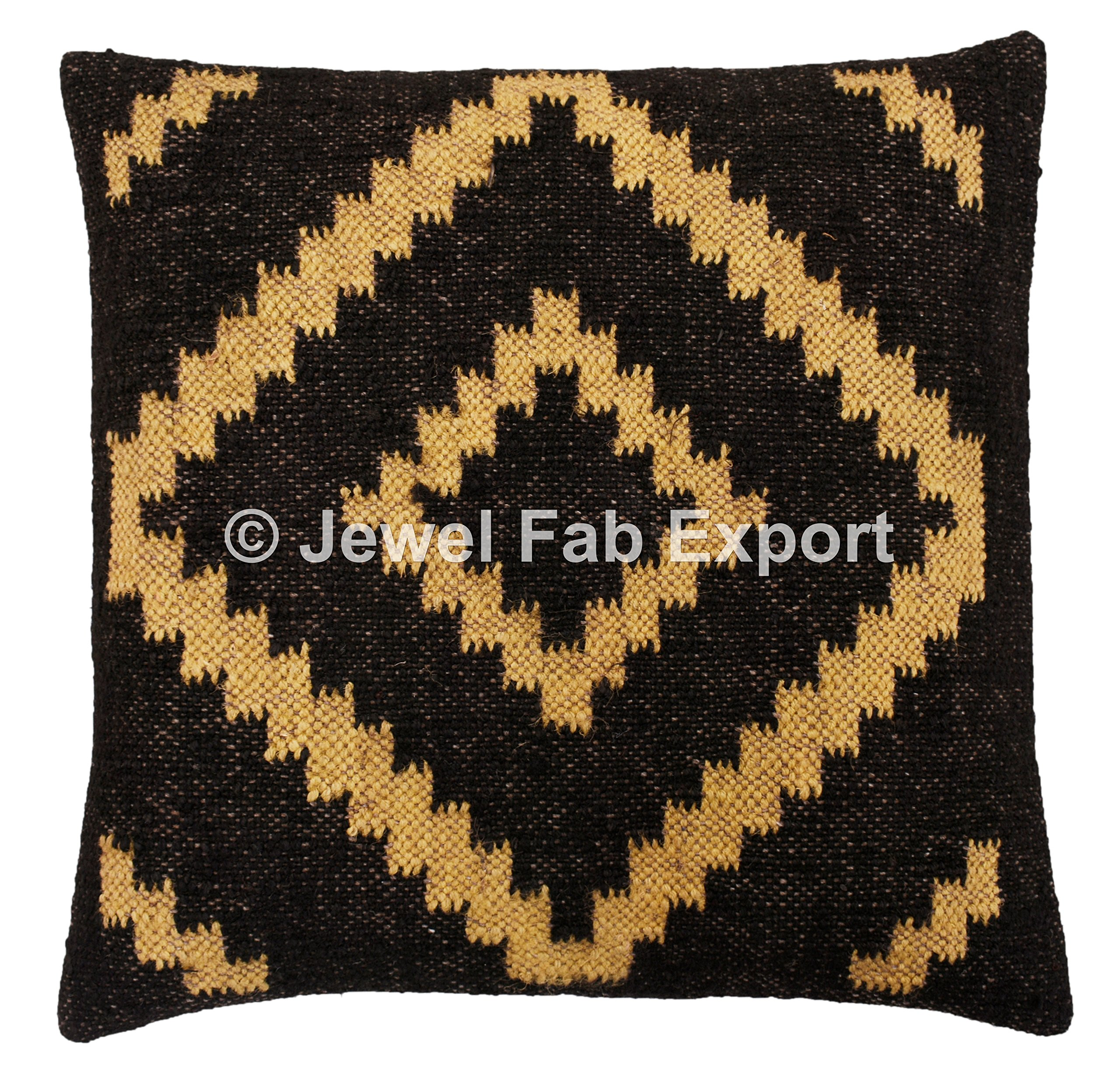 Set Of 5 Indian Vintage 18 x 18'' Living Room Decorative Jute Rug Cushion Cover, Handmade Kilim Pillow Sham For Sofa -Floor-Pillow Throw Bohemian Pillow Cases