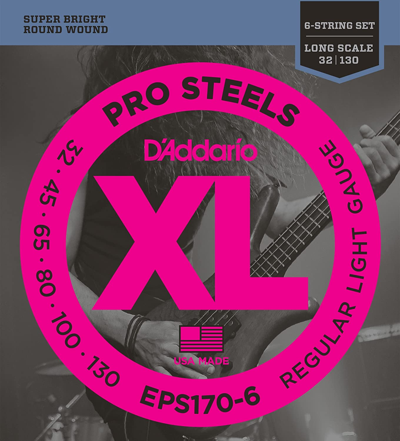Long Scale DAddario EPS170-6 6-String ProSteels Bass Guitar Strings Light 32|130