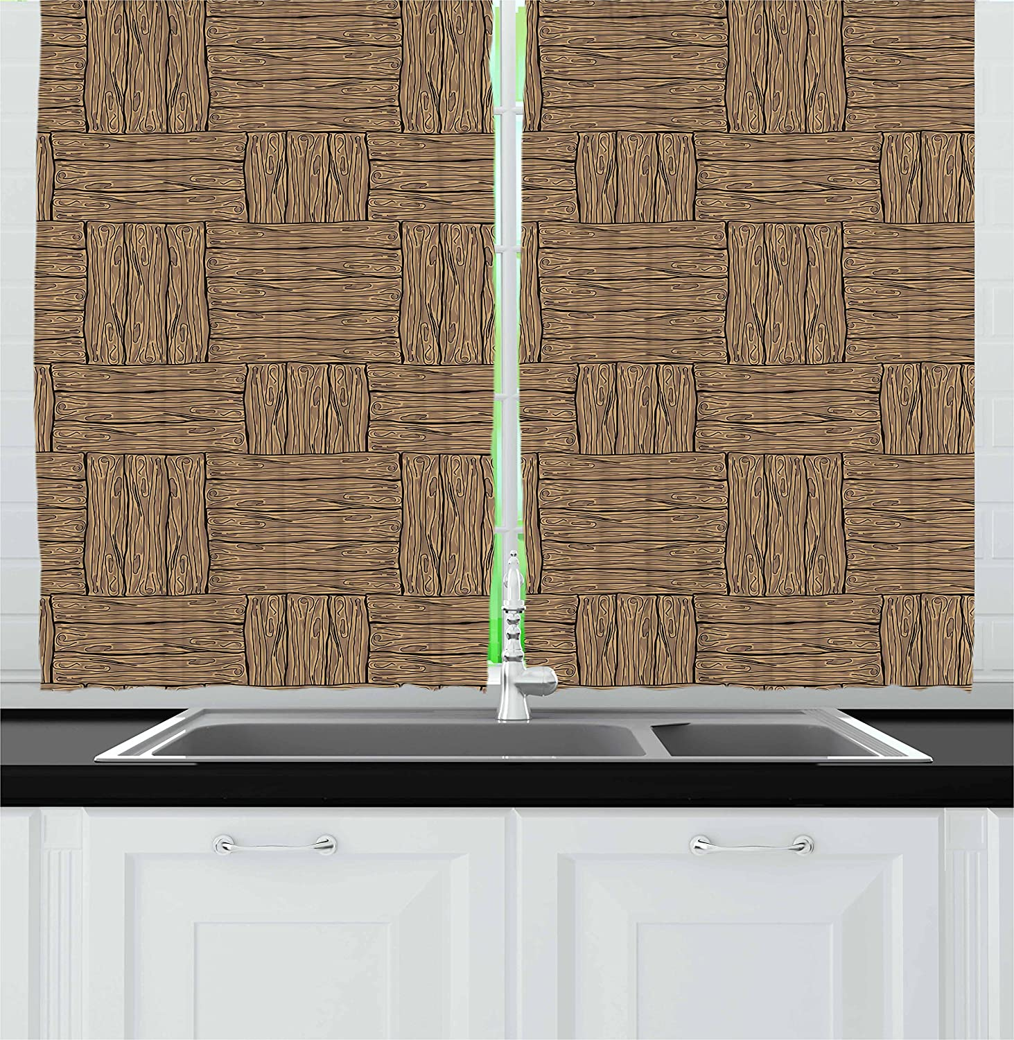 Amazon.com: Ambesonne Rustic Kitchen Curtains, Wooden ...