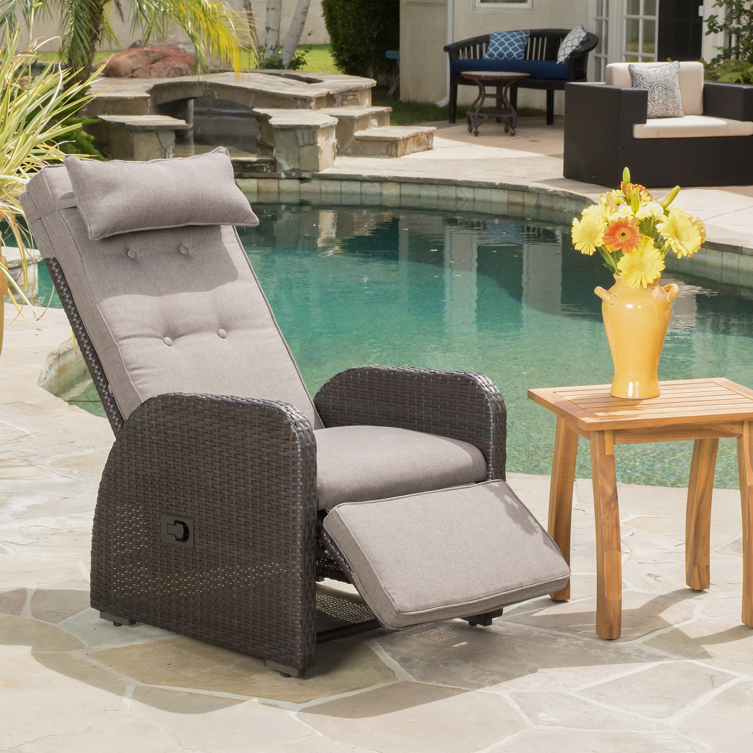 Odina Outdoor Brown Recliner with Cushion by Great Deal Furniture
