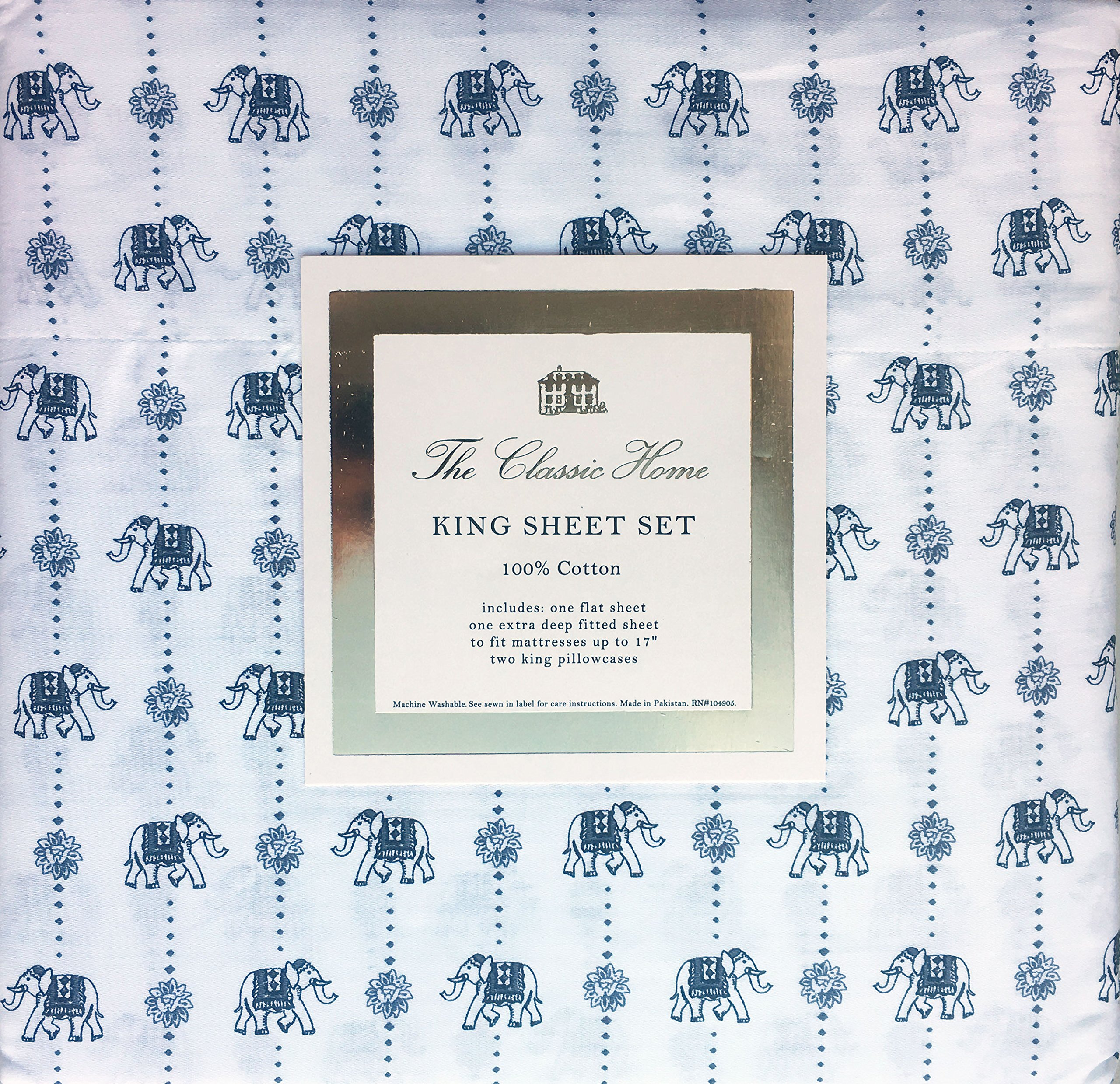 Classic Home Bedding Cotton King Size Bed Sheet Set, Decorated Elephants Geometric Blue on White Eastern Exotic Oriental, Extra Deep Pockets by The Classic Home (Image #2)