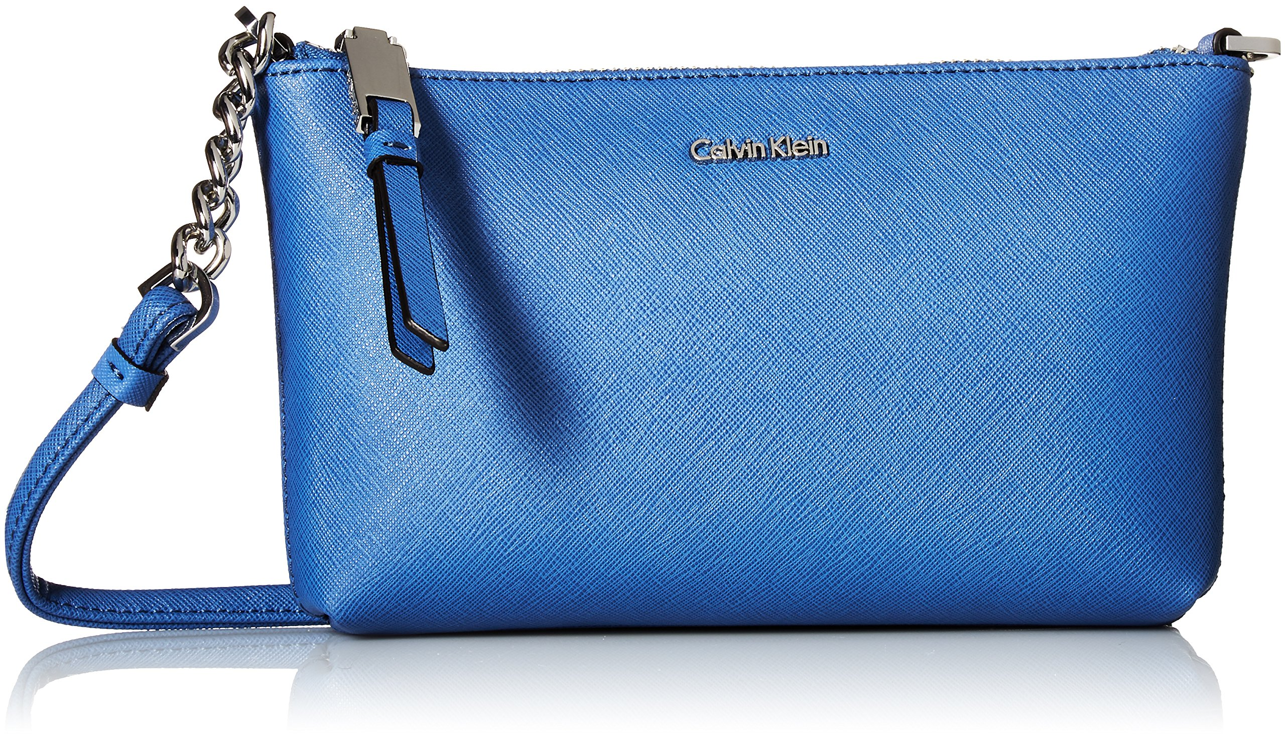 Calvin Klein Hayden Saffiano Leather Crossbody, Periwinkle
