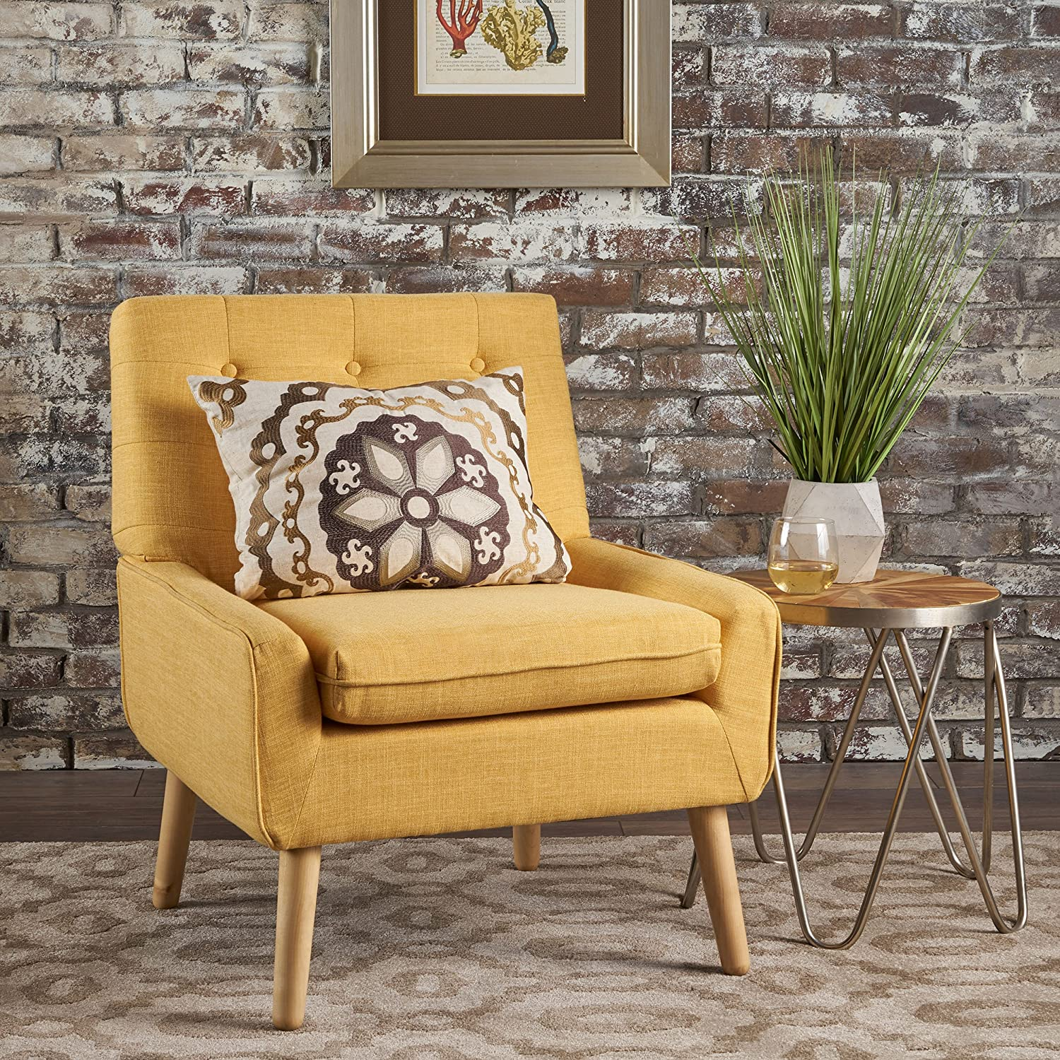 Christopher Knight Home 302041 Eileen Buttoned Mid Century Modern Muted Yellow Fabric Chair, Natural