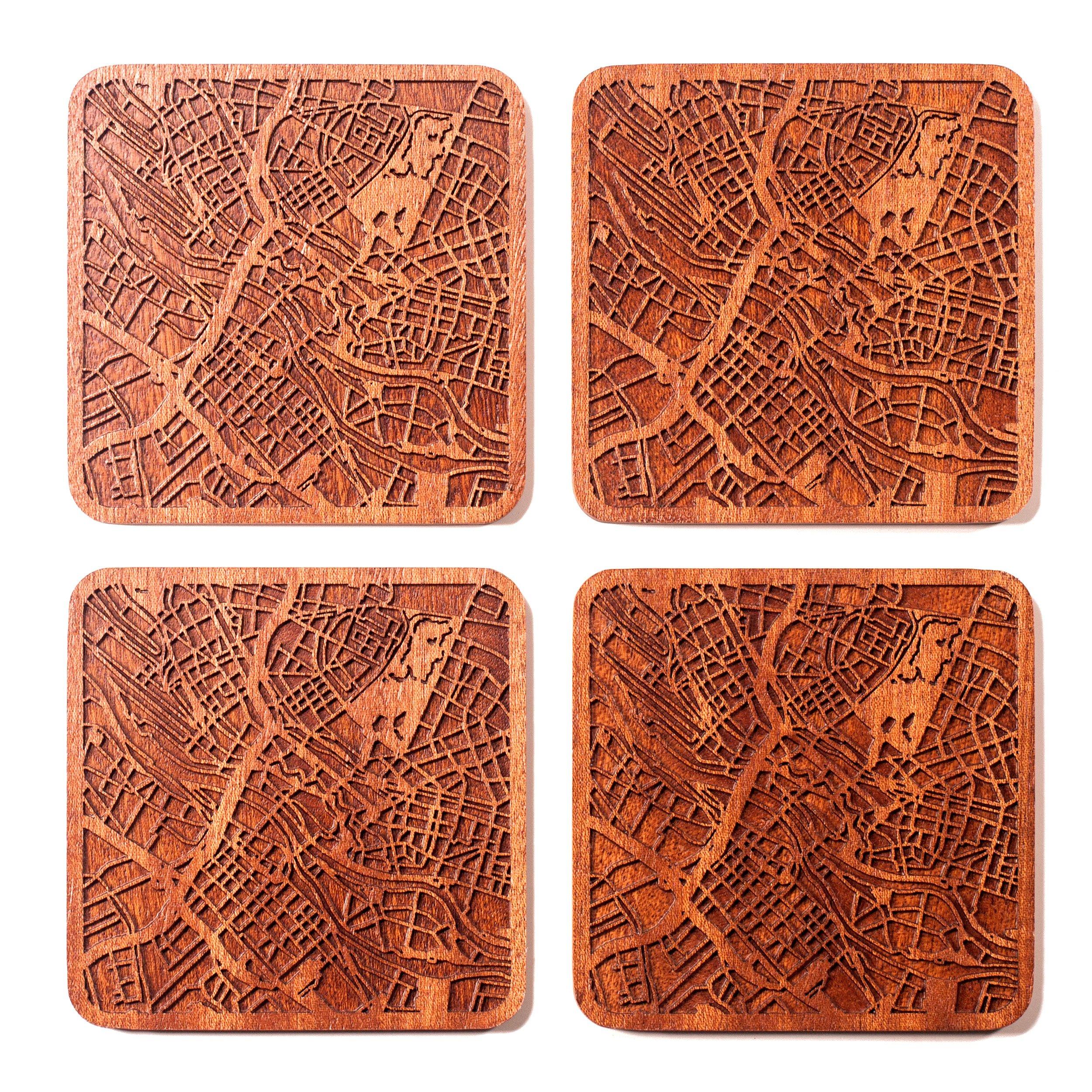 Bremen Map Coaster by O3 Design Studio, Set Of