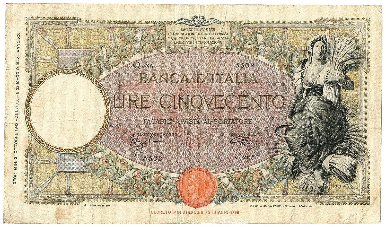 Cartamoneta  500 Lire CAPRANESI MIETITRICE Testina L'AQUILA Fascio 21 10 1942 qBB