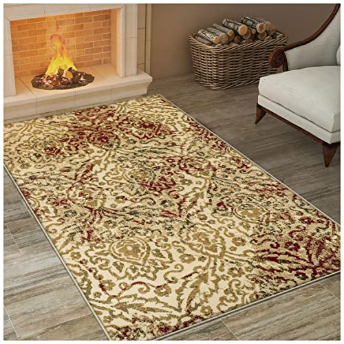 Superior Ophelia Collection Area Rug, Vintage Ikat Damask Pattern, 10mm Pile Height with Jute Backing, Affordable Contemporary Rugs – Cream, 5 x 8 Rug