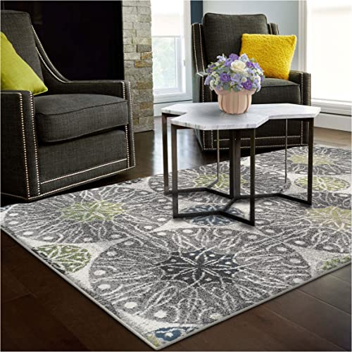 Superior Rosette Collection Area Rug, 6mm Pile Height with Jute Backing, Affordable Contemporary Rugs, Modern Geometric Medallion Rosettes – 8 x 10 Rug, Black, Grey, Blue, and Green