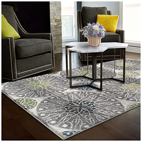 Superior Rosette Collection Area Rug, 6mm Pile Height with Jute Backing, Affordable Contemporary Rugs, Modern Geometric Medallion Rosettes – 5 x 8 Rug, Black, Grey, Blue, and Green