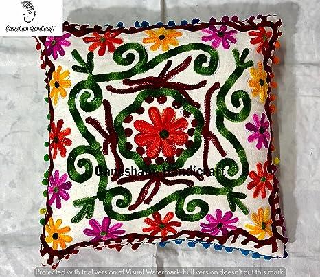 Indian decorativo hecho a mano algodón Toss almohada ...