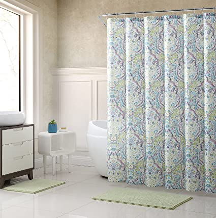 Elegant Aqua Blue Lime Green Pink Fabric Shower Curtain Large Floral Paisley Print Design