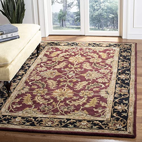Safavieh Heritage Collection Handcrafted Traditional Oriental Red and Black Wool Area Rug 12' x 18'