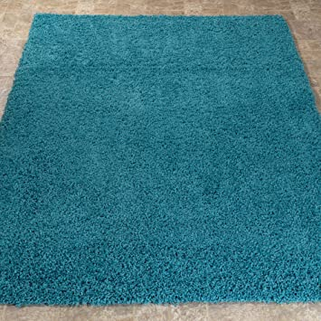 soft cozy color solid shag area rug contemporary living bedroom turquoise 6x9 5x7 amazon