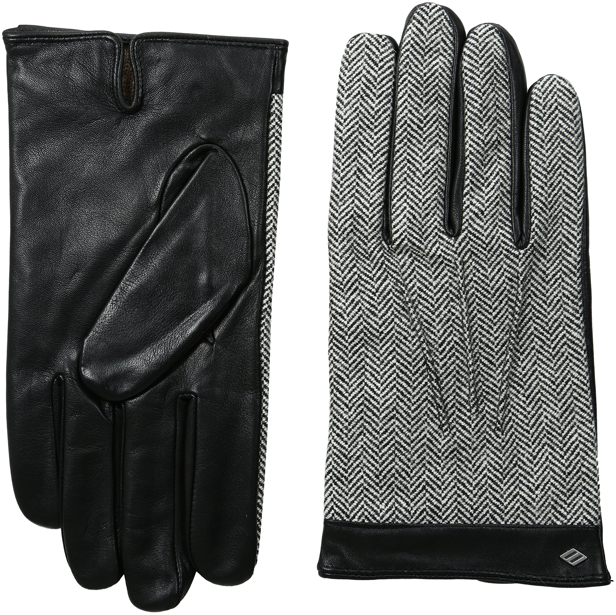 Joseph Abboud Men's Tweed and Fine Leather Gloves with Lambswool Lining, Black/Tweed, Large