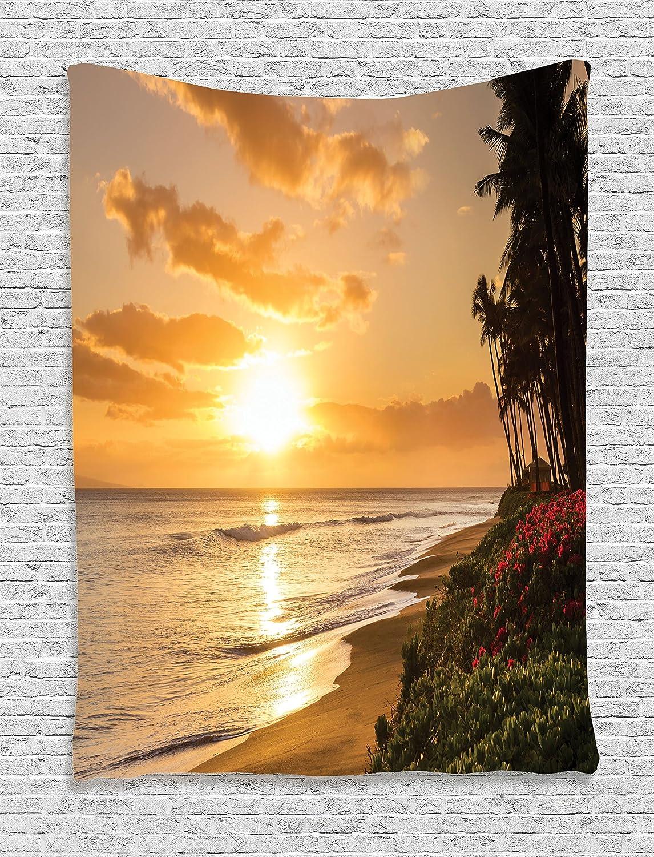 Amazon.com: Ambesonne Hawaiian Decorations Tapestry Wall Hanging ...