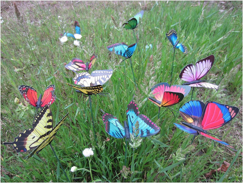 Amazon.com: Garden Butterfly Stakes - LeBeila Butterfly Garden Decor ...