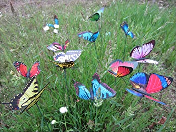 Beautiful Garden Butterfly Stakes   LeBeila Butterfly Garden Decor Statue Outdoor Yard  Planter Flower Pot Bed Ornaments