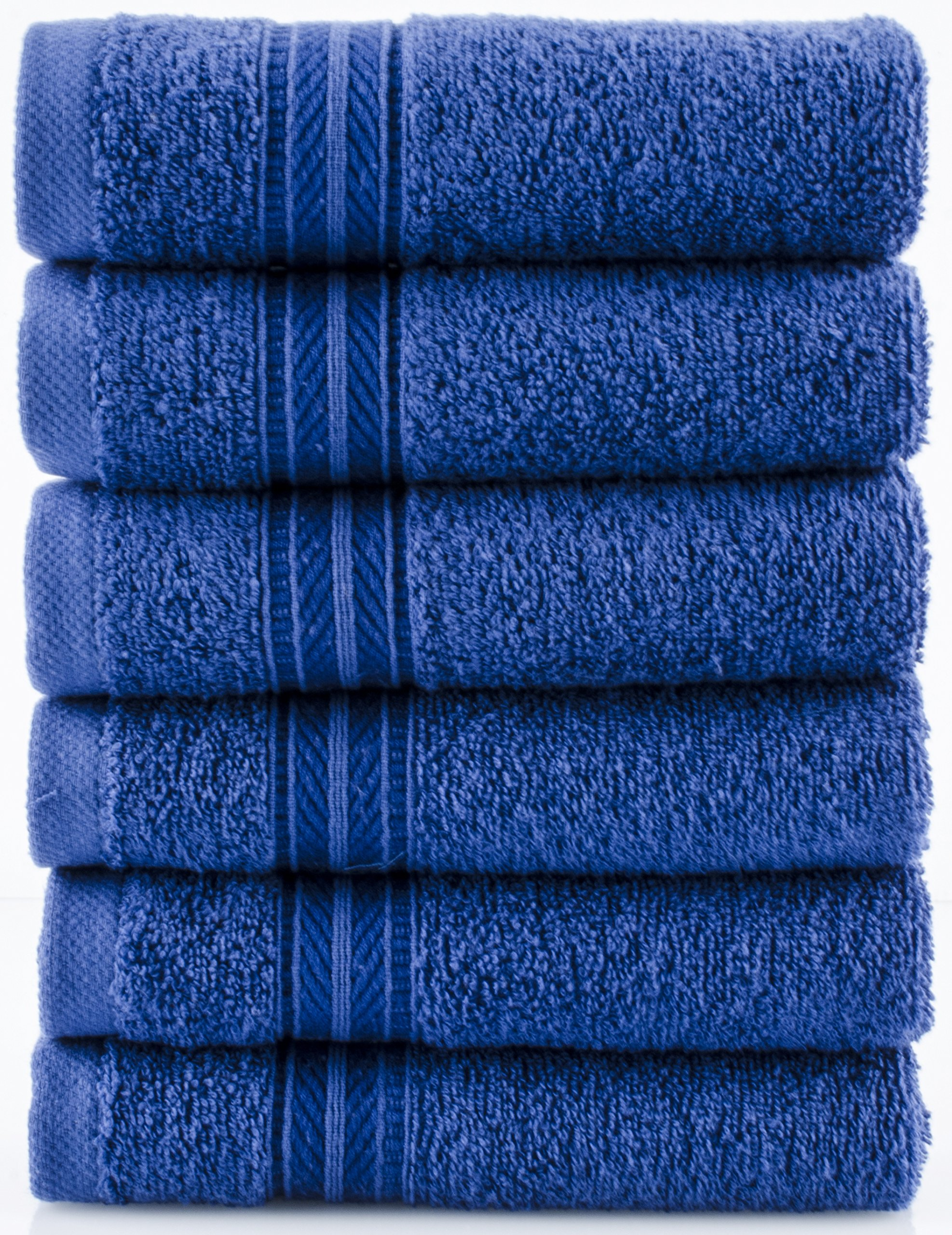 Lunasidus Bergamo, Luxury Hotel / Spa Washcloths, 100 Percent Genuine Turkish Cotton, Set of 6, 700 Gram - Navy Blue