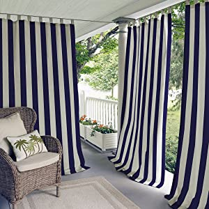 Elrene Home Fashions Highland Stripe Indoor/Outdoor Adhesive Loop Fastener Tab Top Window Curtain Panel for Patio, Pergola, Porch, Deck, Lanai, and Cabana, 50