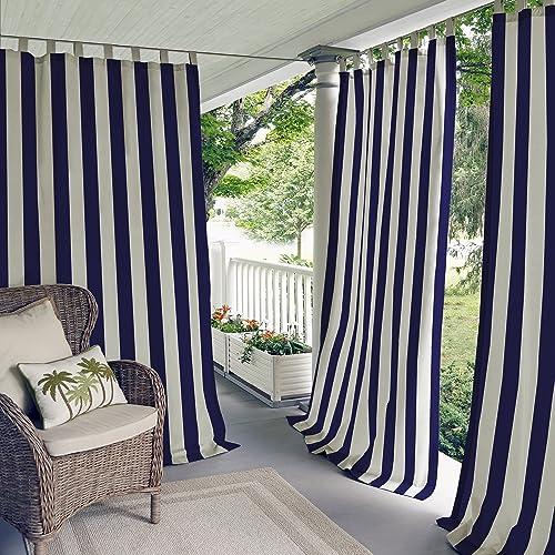 Elrene Home Fashions Highland Stripe Indoor/Outdoor Adhesive Loop Fastener Tab Top Window Curtain Panel
